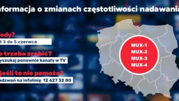 Uwaga! Zmiany częstotliwości multipleksów naziemnej telewizji cyfrowej DVB-T